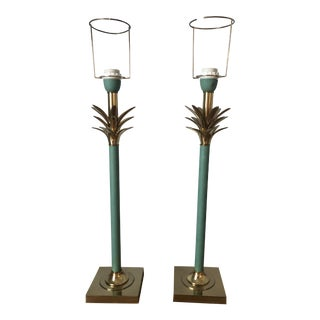 Vintage Traditional Solid Brass and Verdi Finish Lamps - a Pair For Sale