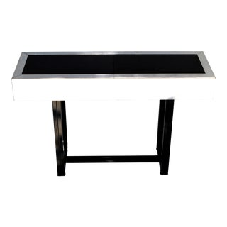 Willy Rizzo Style Expendable Steel Chrome Bar Console Table Black Glass Italy 70 For Sale