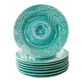 French Gien Majolica Shell Oyster Plates, Set of 8