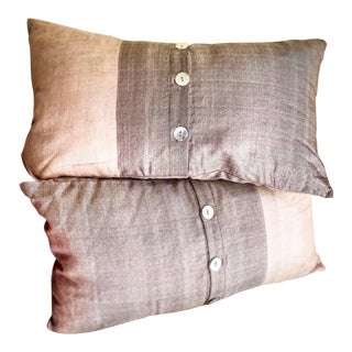 Silk Accent Pillows With Shell Buttons, a Pair For Sale