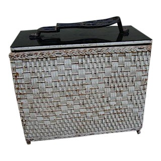 Wicker Basket Shoe Shine Kit Storage Box For Sale