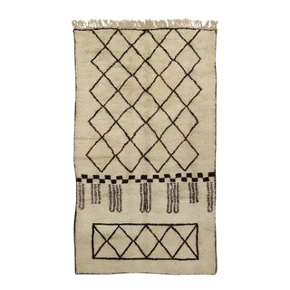 Berber Moroccan Rug With Mid-Century Modern Bauhaus Style For Sale