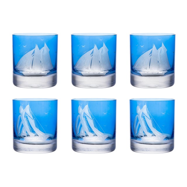 Artel ARTEL Golden Age of Yachting Collection Double Old Fashioned Glass in Endurance and Centennial in Blue - Set of 6 For Sale - Image 4 of 4
