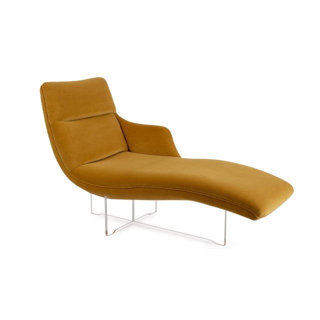 """Textile Vladimir Kagan """"Erica"""" Chaise in Yellow With Lucite Base For Sale - Image 7 of 7"""