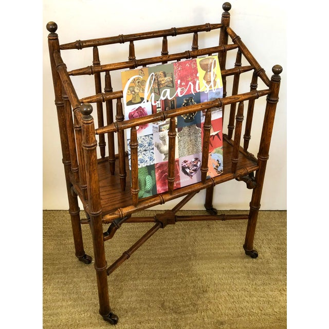 Sienna Faux Bamboo Canterbury Magazine/File/Lp Rolling Rack For Sale - Image 8 of 10