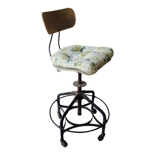 Vintage Toledo Stool With Cushion For Sale