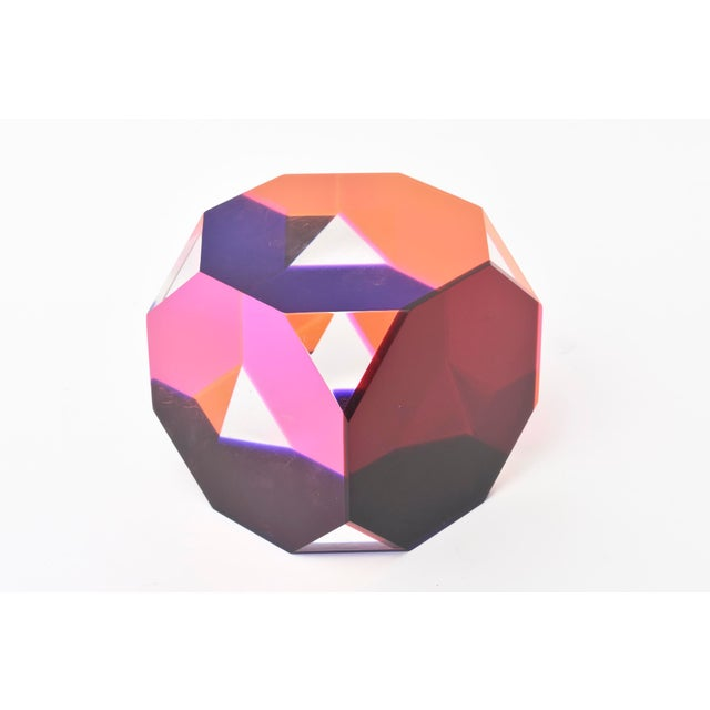 Abstract Vasa Mihich Laminated Lucite Octagonal Table Sculpture Signed and Dated For Sale - Image 3 of 8