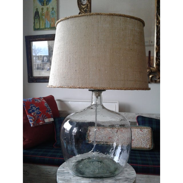 1980s Clear Blown Glass Lamp W/ Burlap Shade For Sale - Image 5 of 6
