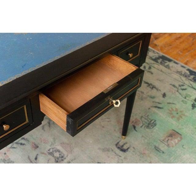 Blue 1920s French Ebonized Mahogany Writing Desk For Sale - Image 8 of 13