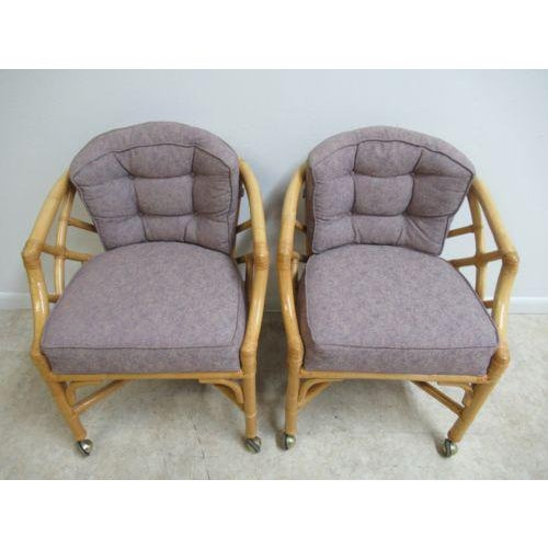 Vintage Ficks Reed Rattan Bamboo Arm Chairs -A Pair For Sale - Image 11 of 11