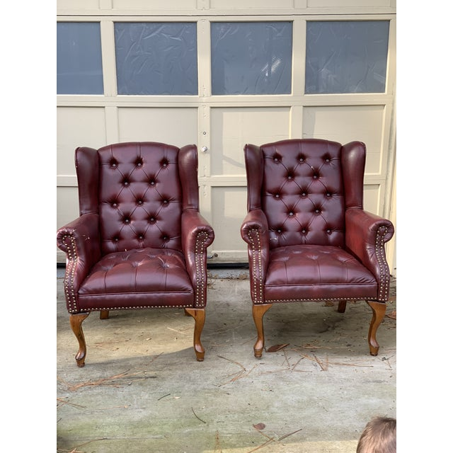 Red 1990s Vintage Faux Leather Burgundy Chairs- A Pair For Sale - Image 8 of 8
