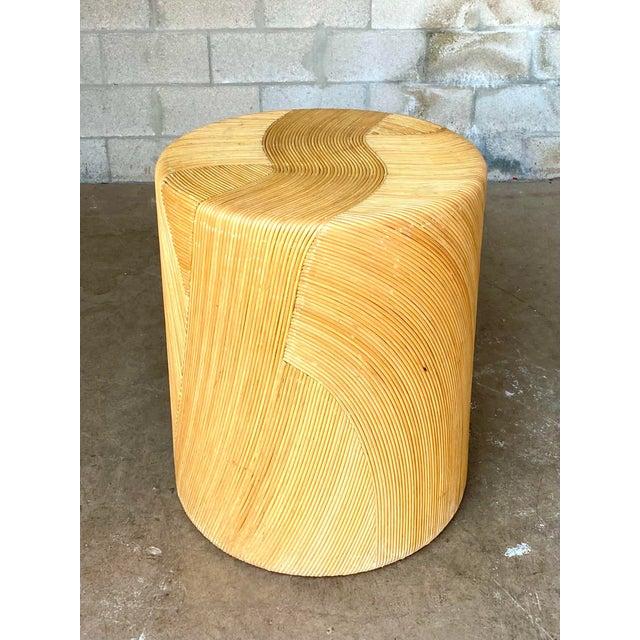 Wood Vintage Coastal Pencil Reed Dining Table Pedestal For Sale - Image 7 of 8