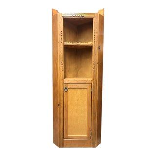 Vintage Early 20th Century Arts and Crafts Wood Storage Corner Cupboard Cabinet Organizer Stand With Shelves For Sale