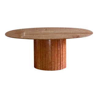 1970s Italian Red Marble Oval Dining Table For Sale