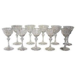 Crystal Manhattan Glasses- Set of 10 For Sale