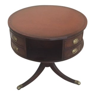 Vintage 1940s Leather Top Mahogany Drum Table For Sale