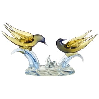 Murano Sommerso Yellow to Blue Italian Art Glass Courting Birds Doves Sculpture For Sale