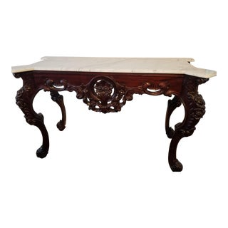 Traditional Carved Mahogany Marble Table For Sale