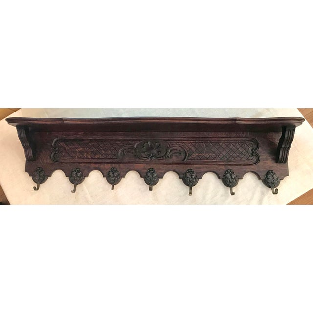 French Antique French Carved Tiger Oak Wall Shelf Coat Hat Rack For Sale - Image 3 of 11