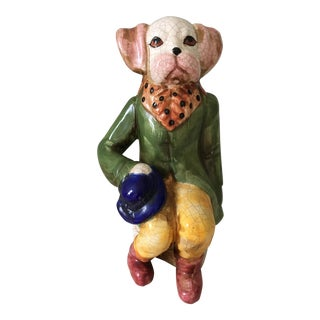 Majolica Style Country Gentleman Dog Figure For Sale