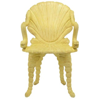 Maitland Smith Carved Wood Grotto Chair With Dolphin Arms For Sale