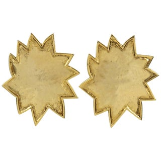 Edouard Rambaud Paris Signed Clip on Earrings Gilt Metal Oversized Sun For Sale