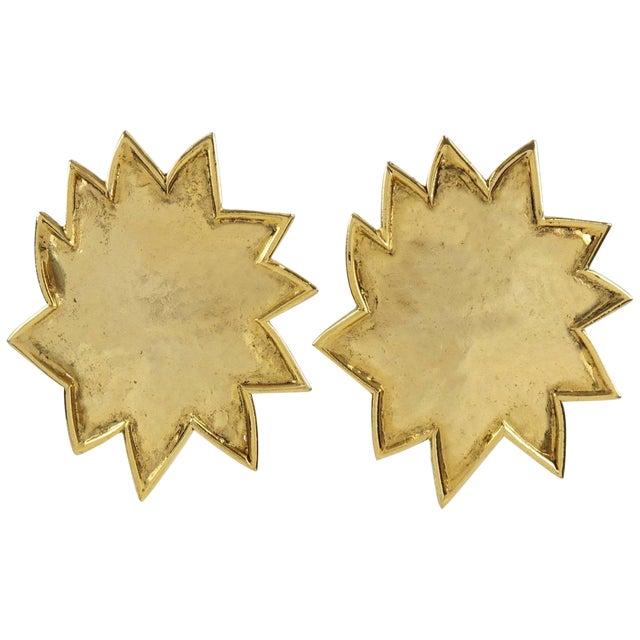 Edouard Rambaud Paris Signed Clip on Earrings Gilt Metal Oversized Sun For Sale