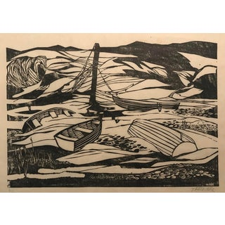 Two Kinds of Quiet Mid-Century Woodcut by Thomas Elsner 1950s For Sale
