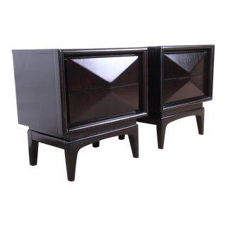 Mid-Century Modern Ebonized Sculpted Diamond Front Nightstands by United, Newly Refinished For Sale