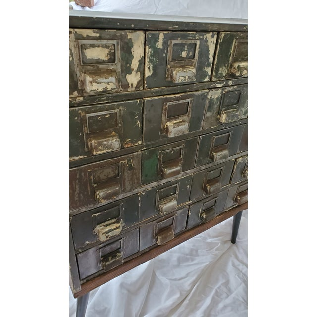 Mid Century Metal Card Catalog Upcycled Hall Table For Sale - Image 9 of 12