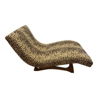 Mid Century Adrian Pearsall Zebra Print Wave Chaise For Sale