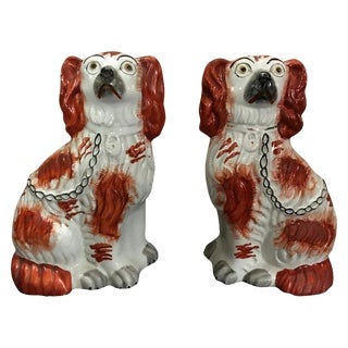 Pair of Staffordshire England Red Seated Spaniel Dogs For Sale