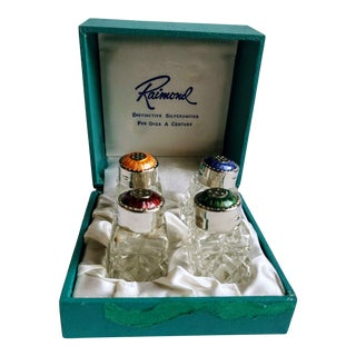 1960s Guilloche Enameled Sterling Crystal Salt Pepper Shakers by Raimond Silver - Set of 4 For Sale