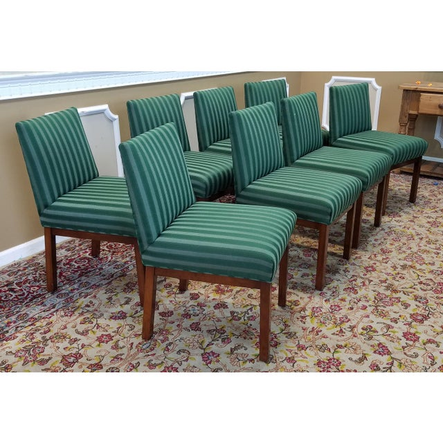 1970s Directional Contract Furniture Green Striped Upholstered Dining Room Chairs - Set of 8 - Image 4 of 11
