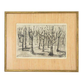 """""""Forest"""" 1962 Black & White Abstracted Trees Etching by Breen For Sale"""