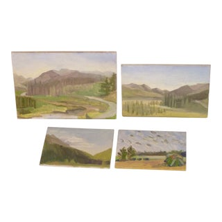 Susan Scott Landscape Oil Sketches - Set of 4 For Sale