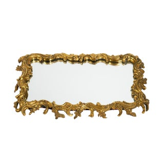 19th Century Antique Gilt Bronze Frame Mirrored Vanity Tray For Sale