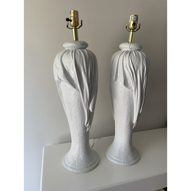 Mid-Century Modern 1980s Plaster Draped Table Lamps in the Manner of John Dickenson - a Pair For Sale - Image 3 of 13