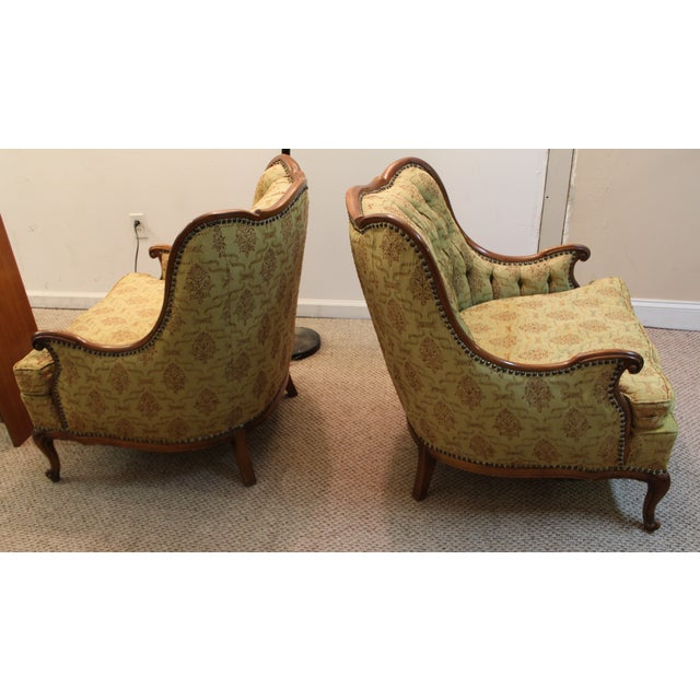 French Tufted Back Bergere Arm Chairs - Pair - Image 4 of 10