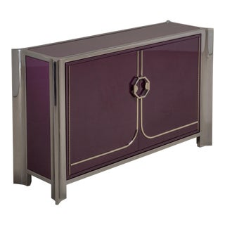 An Aubergine Lacquered Two-Door Cabinet by Mastercraft, 1980s For Sale