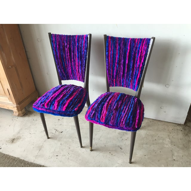 Vintage 1960s Furry Striped Accent Chairs - A Pair - Image 3 of 10