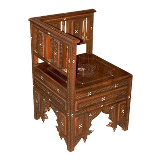 Moroccan Style Hand Carved Wooden Corner Chair For Sale