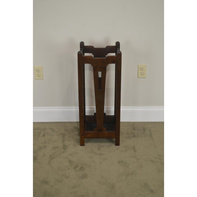 Arts & Crafts Mission Oak Arts & Crafts Antique Umbrella Cane Stand For Sale - Image 3 of 13