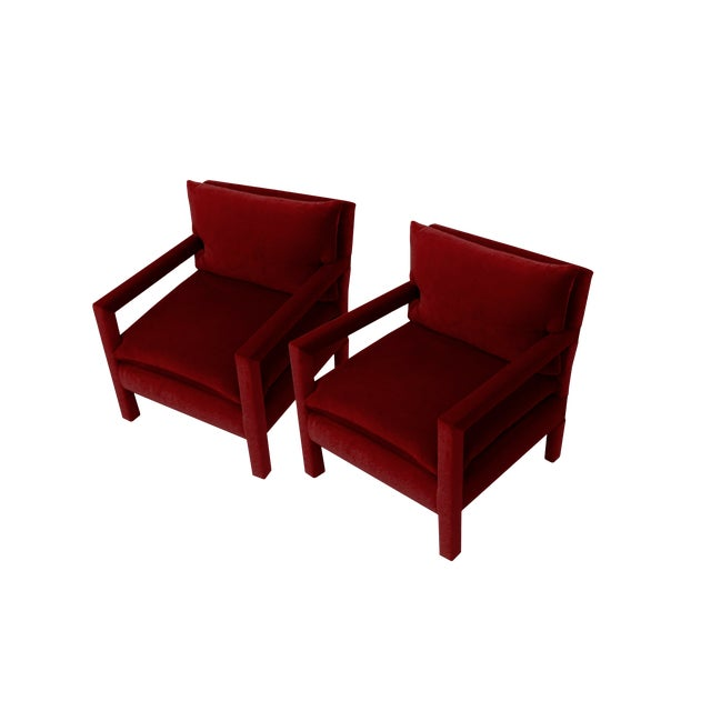 Stunning Pair of Parsons Armchairs in Ruby Mohair Velvet For Sale
