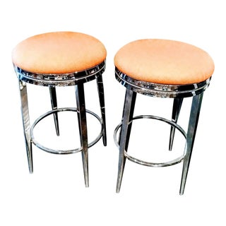 A Pair Polished Chrome Heavy Duty Swivel Counter Height Round Bar Stools For Sale