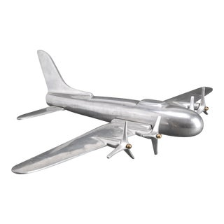 Mid-Century Modern Aluminum Airplane Model For Sale