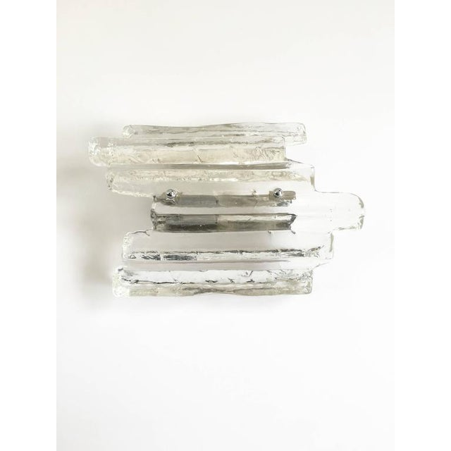 Glass Ice Glass Sconce In the Style of Kalmar - Image 6 of 10