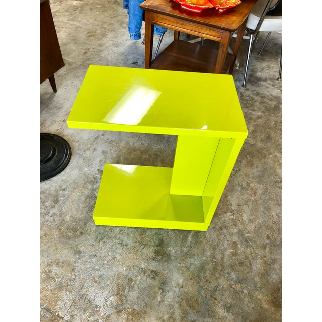 Crate & Barrel Modern Neon Green Rolling C Table For Sale - Image 4 of 9