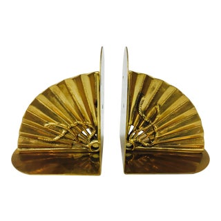 Vintage Gold Brass Bookends - A Pair