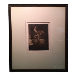 Antique Chamber Servant Etching Print by B.Hawkins For Sale